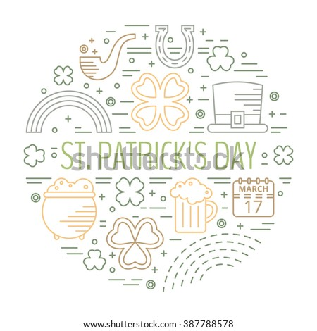 St. Patricks day colorful line icons set in circle shape. Design concept for festive banner, greeting card, t-shirt, advertisement. Raster copy of vector file. - stock photo