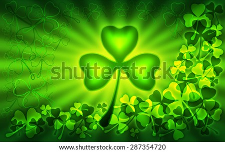 St. Patricks Day illustration with green clover ornament background and shamrock symbol - stock photo