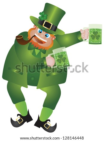 St Patricks Day Irish Leprechaun with Hat and Smoking Pipe Holding Two Glasses of Green Beer Isolated on White Background Illustration Raster Vector