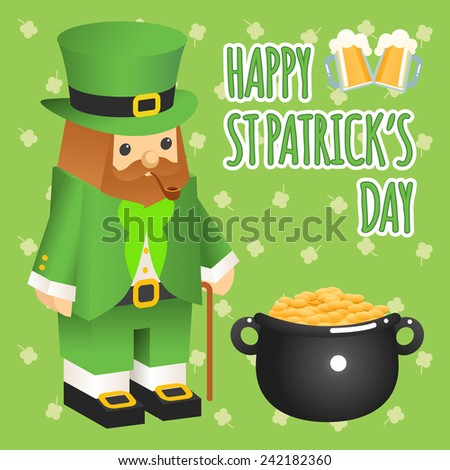 St. patricks day. Leprechaun in 3d flat style with pot of gold. Two glasses of beer and text - stock photo