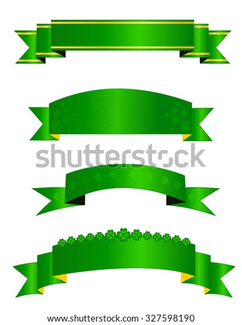 St. Patricks day themed web banner / ribbon collection isolated on white background  - stock photo