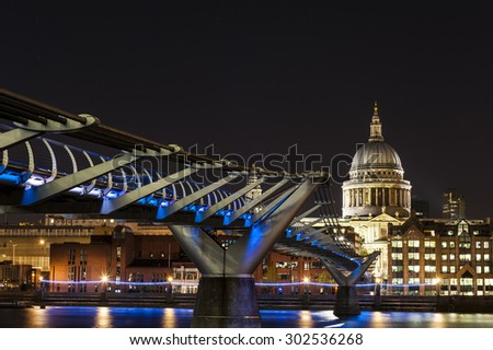 St. Paul Cathedral and Millennium Bridge in London - stock photo