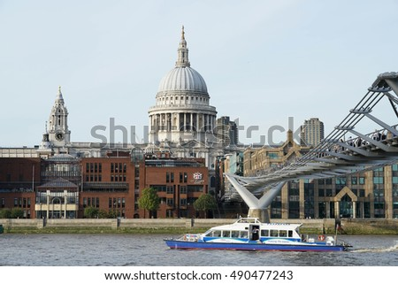 St Paul Cathedral and Millennium bridge in London. Photos are taken on 25 September 2016 at St Paul Cathedral and Millennium bridge in London, UK.