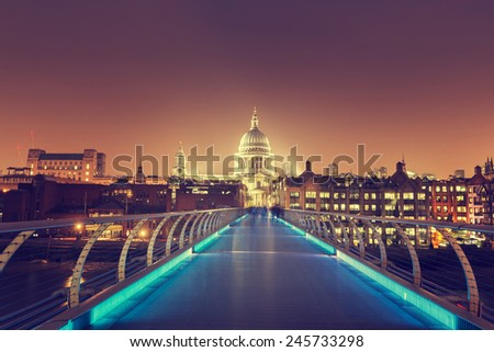 St. Paul Cathedral and millennium bridge, London , UK  - stock photo