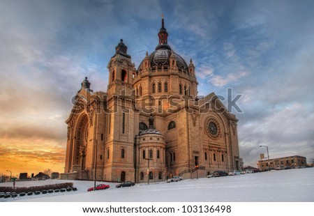 St Paul Cathedral at Minneapolis - stock photo