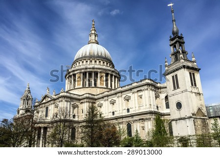 St. Paul cathedral with blue sky, London, UK