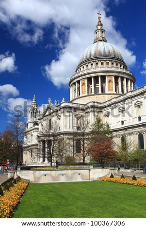St. Paul Cathedral with green garden in London England United Kingdom