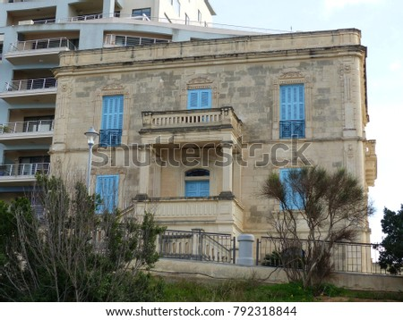 St. Paul's Bay, Malta / Malta - November 2017: An english house in St. Paul's Bay