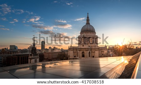 St Paul's Cathedral and its reflection in Golden Sky at Sunset