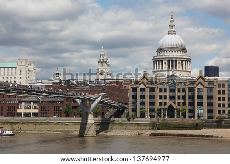 St. Paul's Cathedral and Millennium Bridge in London