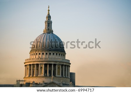 St. Paul's Cathedral at sunset - stock photo