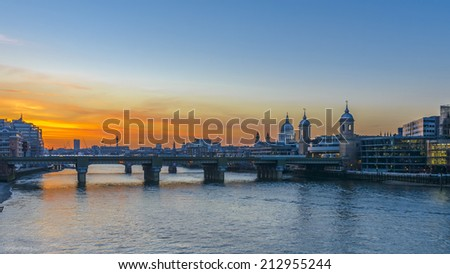 St Paul's Cathedral at sunset in London, England - stock photo