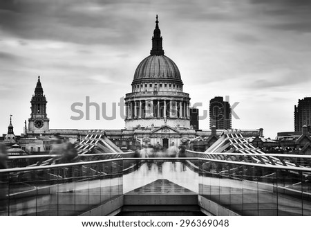 St Paul's Cathedral dome seen from Millenium Bridge in London, the UK. Black and white