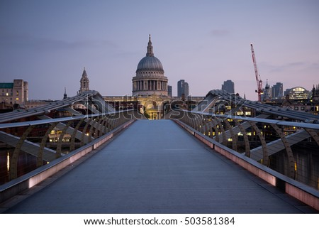 St. Paul's cathedral from the Millenium Bridge,London