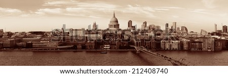 St Paul's cathedral in London as the famous landmark.  - stock photo