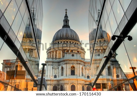 St Paul's Cathedral in London at twilight with reflections - stock photo