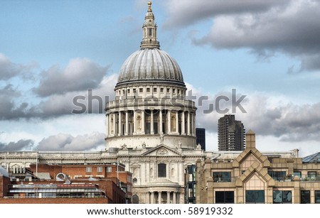 St Paul's Cathedral in London, United Kingdom (UK) - high dynamic range HDR - stock photo