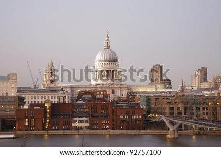 St Paul's Cathedral, seen from Tate Modern,  locates at the top of Ludgate Hill in the City of London