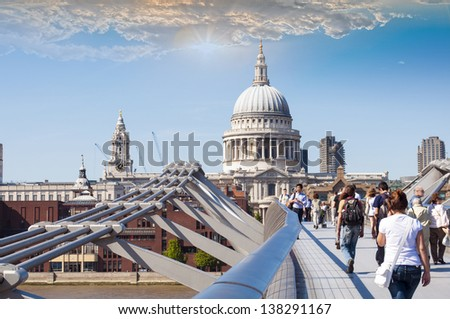 St Paul's Cathedral view by Millennium Bridge, London.