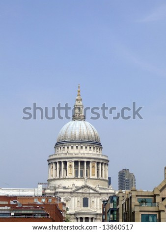 St Paul's Cathedral, view from Millennium Bridge, London.