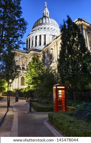 St Paul's Cathedral with London Telephone Box - stock photo