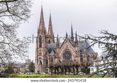 St. Paul's Church of Strasbourg (Eglise Saint-Paul de Strasbourg, 1897) is a major Gothic Revival architecture building and one of the landmarks of the city of Strasbourg, in Alsace, France. - stock photo