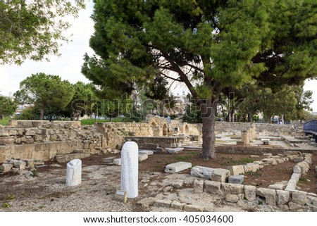 St. Paul's Pillar at the grounds of the The Panagia Chrysopolitissa church. - stock photo