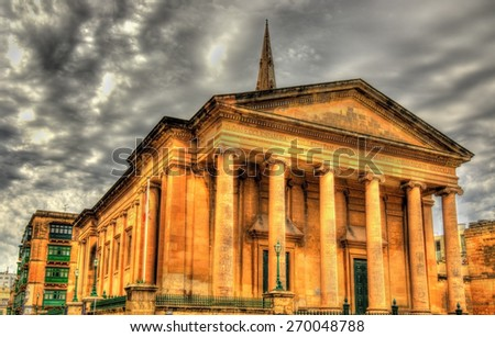 St Paul's Pro-Cathedral in Valletta - Malta - stock photo