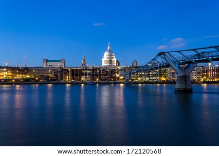 St Pauls at Night from the South of the River - stock photo