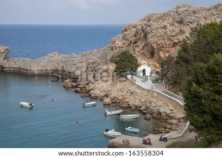 St. Pauls Bay near Lindos on the island of Rhodes, Greece - stock photo