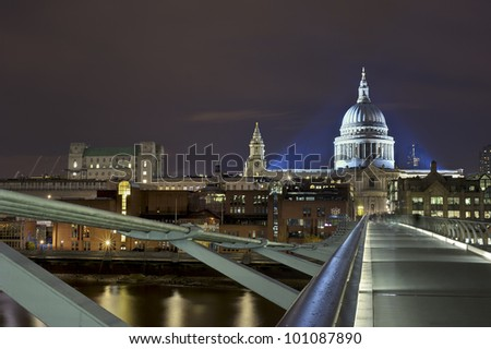 St Pauls Cathedral and Millennium bridge London, Great Britain