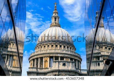 St Pauls Cathedral and reflections in day in London. - stock photo