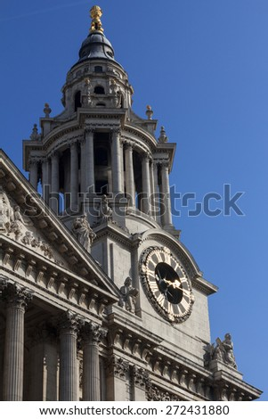 St Pauls Cathedral Clock Face, London, England - stock photo