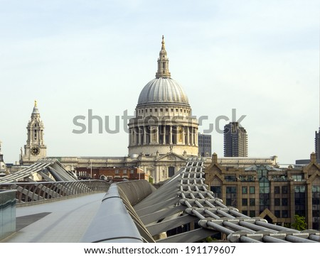 St Pauls cathedral dome and spire viewed from the Millennium Bridge