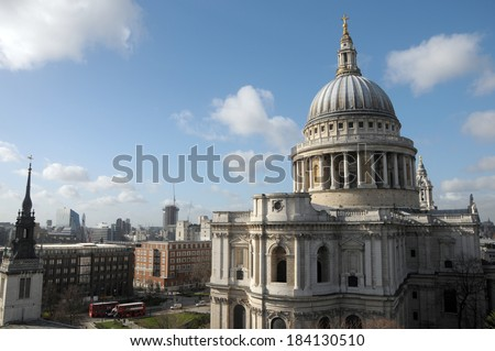 St Pauls Cathedral from rooftop viewing platform of One New Change in London  - stock photo