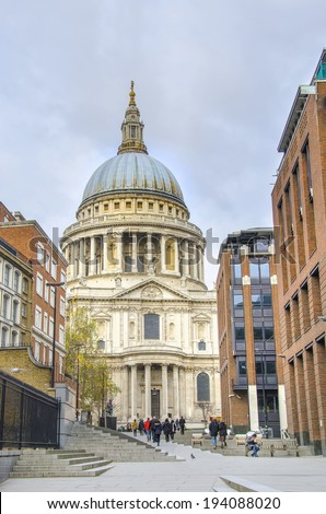 St Pauls Cathedral in London, commuters walk from millennium bridge