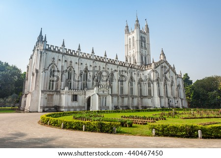 St Pauls Cathedral is a Anglican cathedral in Kolkata, West Bengal, India. - stock photo