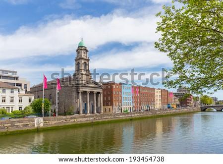 St Pauls church at Arran Quay in Dublin city centre - stock photo