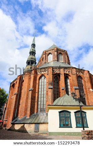 St. Peter Cathedral in old city, Riga, Latvia - stock photo