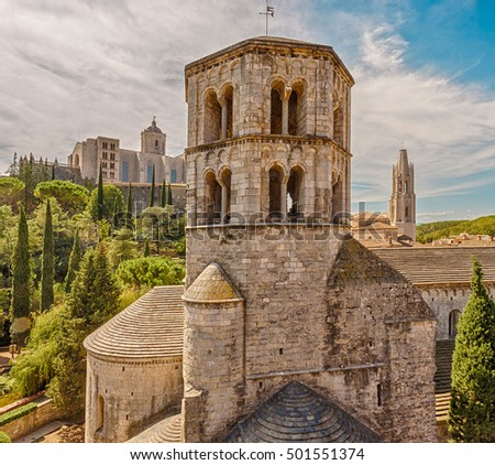 St. Peter Galligansa monastery was built in the XII century for the Benedictine abbey. Girona. Catalonia. Spain.