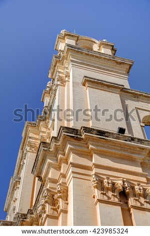 St. Peter & Paul Cathedral in the city of Mdina, in Malta - stock photo