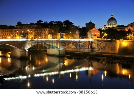 St. Peter's Basilica, bridge and reflection, Rome