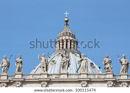 St. Peter's Basilica in Rome, Italy. - stock photo