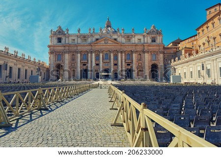 St. Peter's Basilica square ready for the audience of the Pope - stock photo