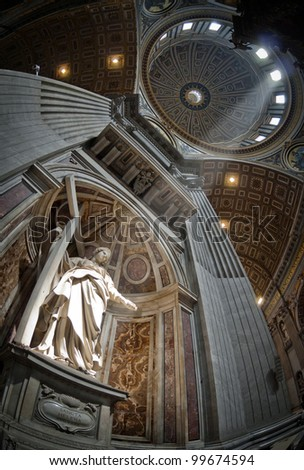 St. Peter's Basilica, St. Peter's Square, Vatican City. Indoor interior - stock photo