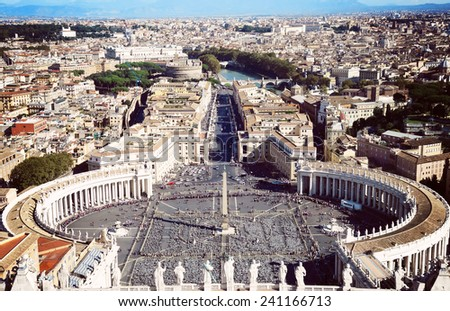 St. Peter's Square in Vatican City in Rome, view of the dome