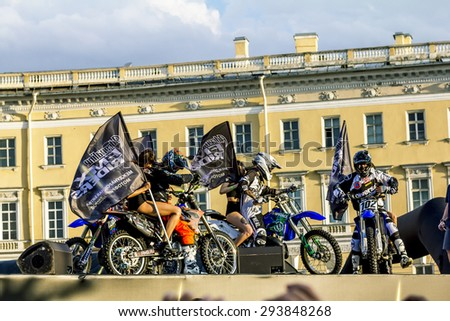 St. Peterburg.Russia.04 July 2015. Adrenaline Rush FMX Riders Moto freestyle show on the Palace Square in St. Petersburg. - stock photo
