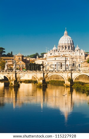 St Peters basilica and river Tibra in Rome, Italy - stock photo