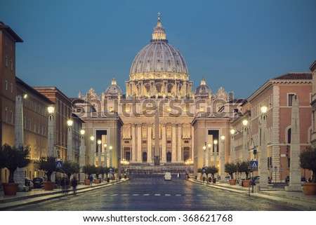 St. Peters Basilica (Basilica di San Pietro) in Vatican City in the morning before sunrise, Rome, Italy, Europe, vintage filtered style - stock photo