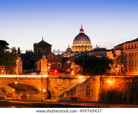 St. Peters Basilica (Basilica di San Pietro) in Vatican City in the morning before sunrise, Rome, Italy, Europe